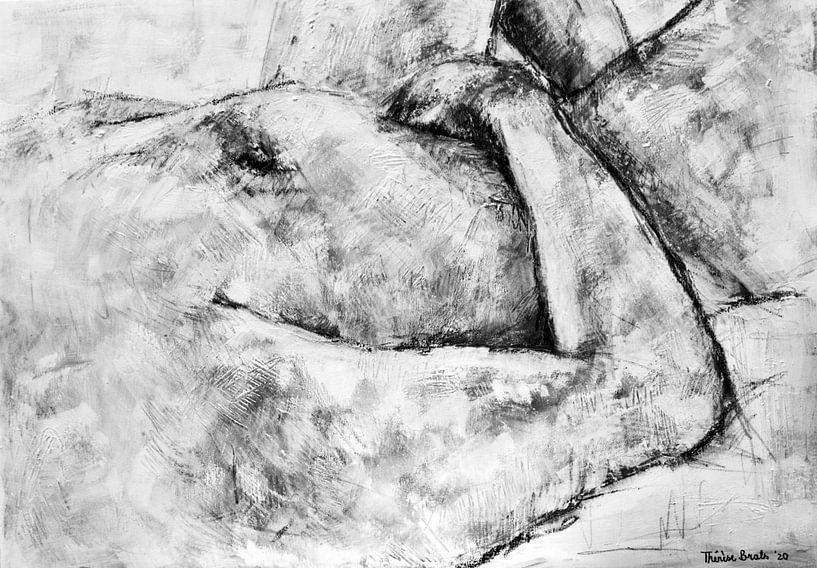 Gemälde eines liegenden nackten Mannes in Schwarz-Weiß. von Therese Brals
