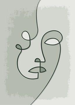 Porträt/Linienzeichnung grau/grün von Color Square