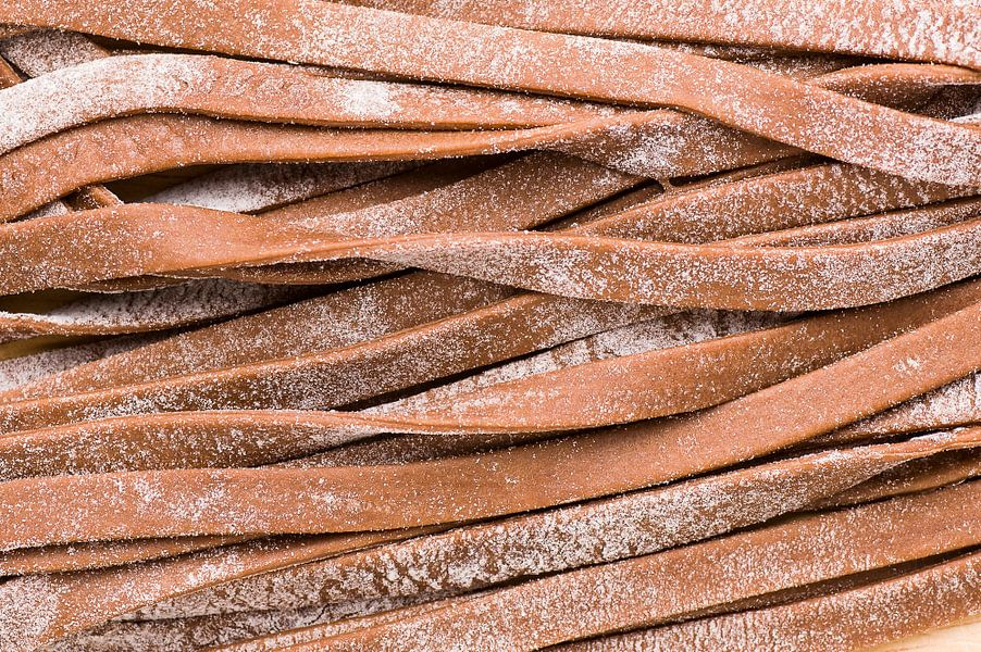 Verse cacao tagliatelle pasta (detail)