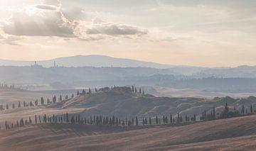 Heuvels en cipressen bij Siena, Toscane. van Rens Kromhout