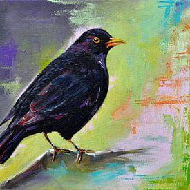 Peinture de l'oiseau noir sur Bianca ter Riet