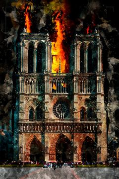 Notre Dame in brand, aquarel, Parijs van Theodor Decker