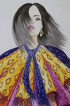 Modeillustration mit Muster und Goldakzent von Iris Kelly Kuntkes