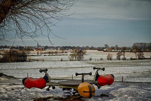 Winterlandschap in Zuid-Limburg van John Kreukniet