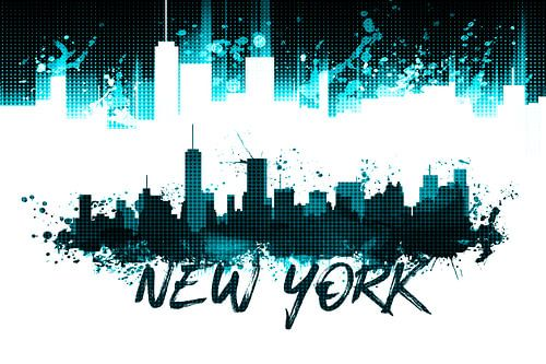 Graphic Art NYC Skyline Splashes | cyan