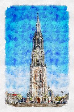 De Nieuwe Kerk in Delft (aquarel) van Art by Jeronimo