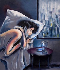 """""""Online"""" - vrouwelijk naakt in bed met glas en telefoon"""