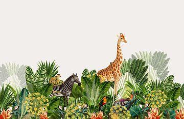 Botanischer Druck Dschungel mit Giraffe und Zebra von Studio POPPY