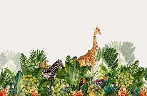 Botanische prent jungle met giraffe en zebra