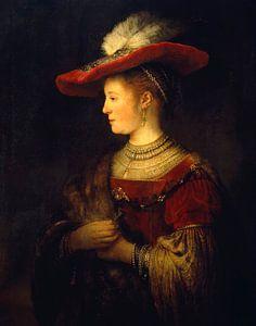Saskia et profil en robe riche - Rembrandt