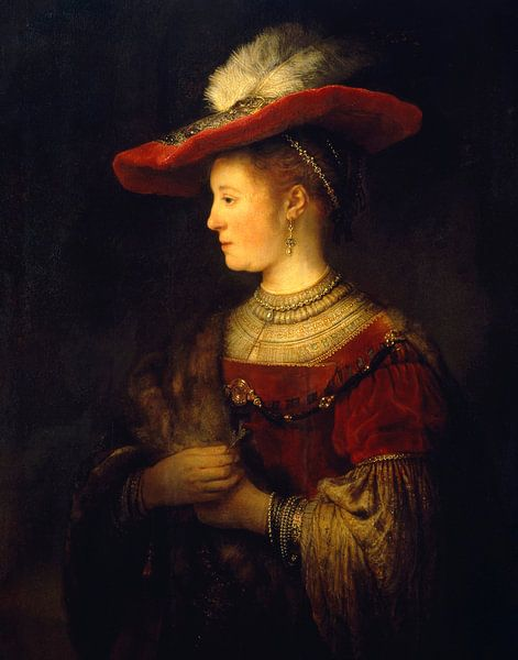 Saskia et profil en robe riche - Rembrandt sur Het Archief