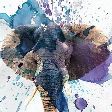 Farbenfrohes Porträt eines Elefanten von Beeldpracht by Maaike