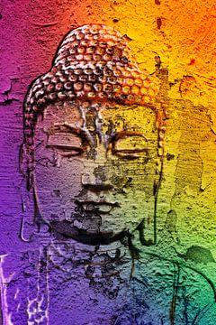 Boeddha op een muur van