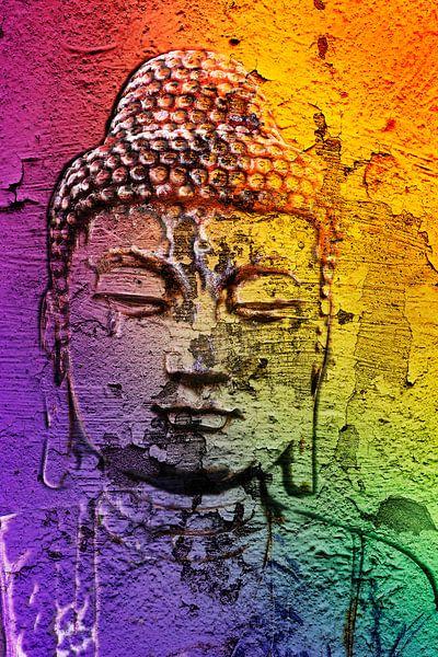 Boeddha op een muur van 2BHAPPY4EVER.com photography & digital art