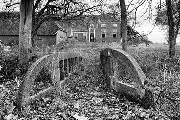 Vervallen boerderij in de provincie Groningen (zwart-wit) sur Evert Jan Luchies