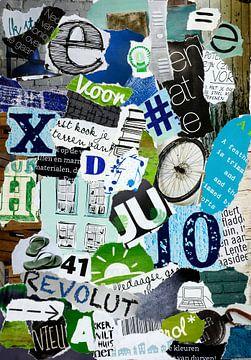 grün-blaue Vintage-Collage aus Altpapier von Trinet Uzun