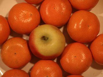Pomme entre les mandarines sur Rosalie Broerze