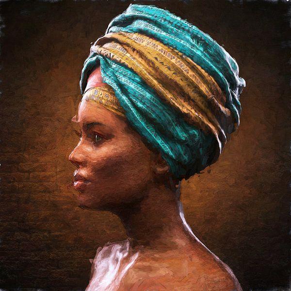 Geschilderde Afrikaanse schoonheid van Arjen Roos