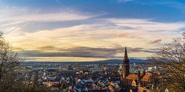 Skyline van de stad Freiburg panorama van Simon Dux