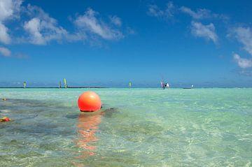 Farbfoto des blauen Karibischen Meeres in Bonaire mit einer leuchtend orangen Boje im Wasser. von Crea-Ti
