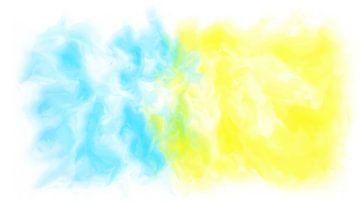 Abstract blauw geel van Maurice Dawson