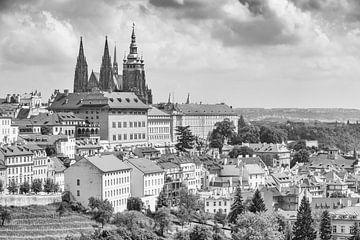Hradschin in Praag in zwart/wit