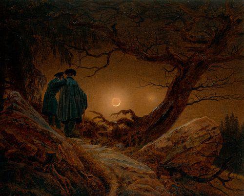 Caspar David Friedrich - Twee mannen die de Maan contempleren van 1000 Schilderijen
