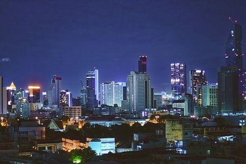 Bangkok Skyline in de nacht van