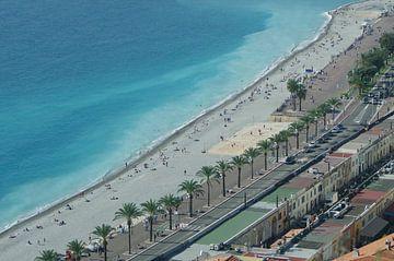 Strand van Nice in vogelvlucht van Romuald van Velde