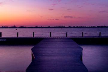 Zonsondergang steiger bij Loswal, Kudelstaart van Photography by Cynthia Frankvoort