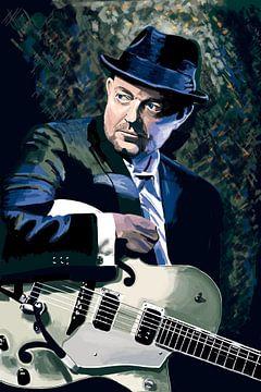 Blueser mit Gitarre von Bert-Jan de Wagenaar