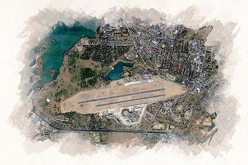 Illustration de l'aéroport de Tegel vu d'en haut sur Aquarel Creative Design