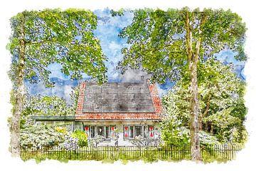 Huis met luikjes in Burgh-Haamstede (aquarel) van Art by Jeronimo