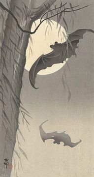 Twee vleermuizen bij volle maan van Ohara Koson