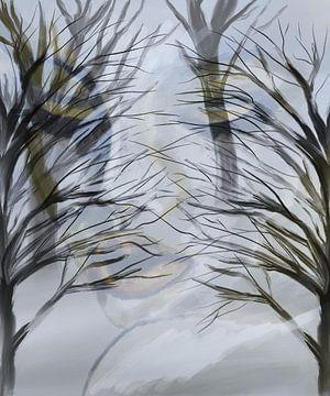 Dubbel ,door de bomen .vrouw von Monique Schilder