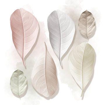 Leaves in Pastels van Marja van den Hurk