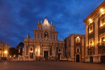 Piazza del Duomo, Kathedraal van Santa Agata, architect Girolamo Palazzotto, Catania, Sicilië, Itali van Torsten Krüger