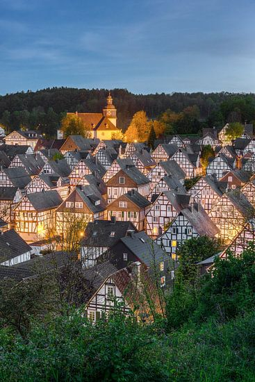 Freudenberg in de Siegerland in de avonduren