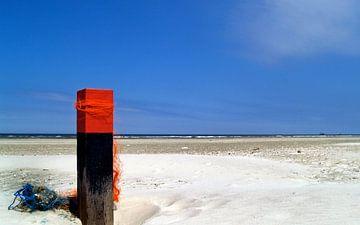 versierde strandpaal op Terschelling van
