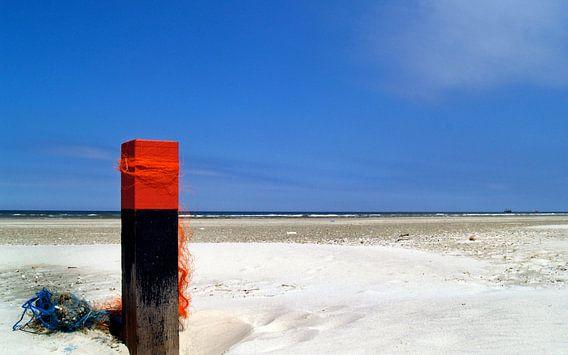 versierde strandpaal op Terschelling