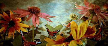 Landschap met vlinders van Marijke van Loon