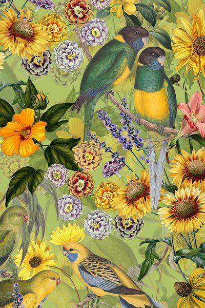Papegaai in tropische bloesemjungle in de jungle van Uta Naumann