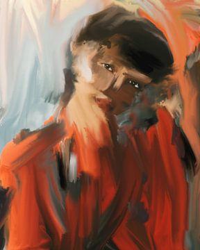 portret Aziatische vrouw in rood van Carla Van Iersel