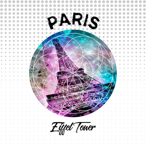 Graphic Art PARIS Eiffel Tower van Melanie Viola