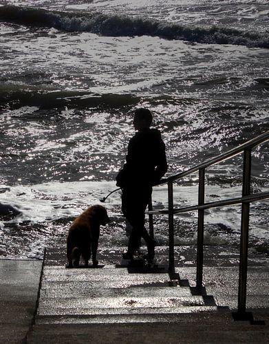 Man en hond bij zee