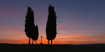 Sonnenaufgang in Val d'Orcia, Italien von Henk Meijer Photography