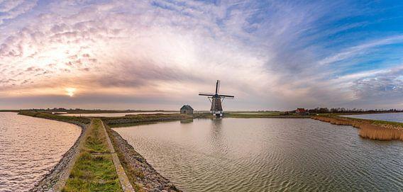 Molen het Noorden Texel zonsondergang panorama