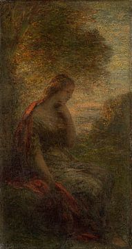 """Junge Frau unter einem Baum bei Sonnenuntergang, genannt """"Herbst"""", Henri Fantin-Latour"""