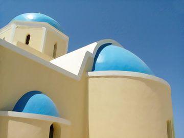 Église typique de l'île grecque de Santorin sur Annavee