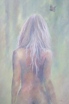 Geschilderde blote rug van een sexy vrouw van Atelier Liesjes